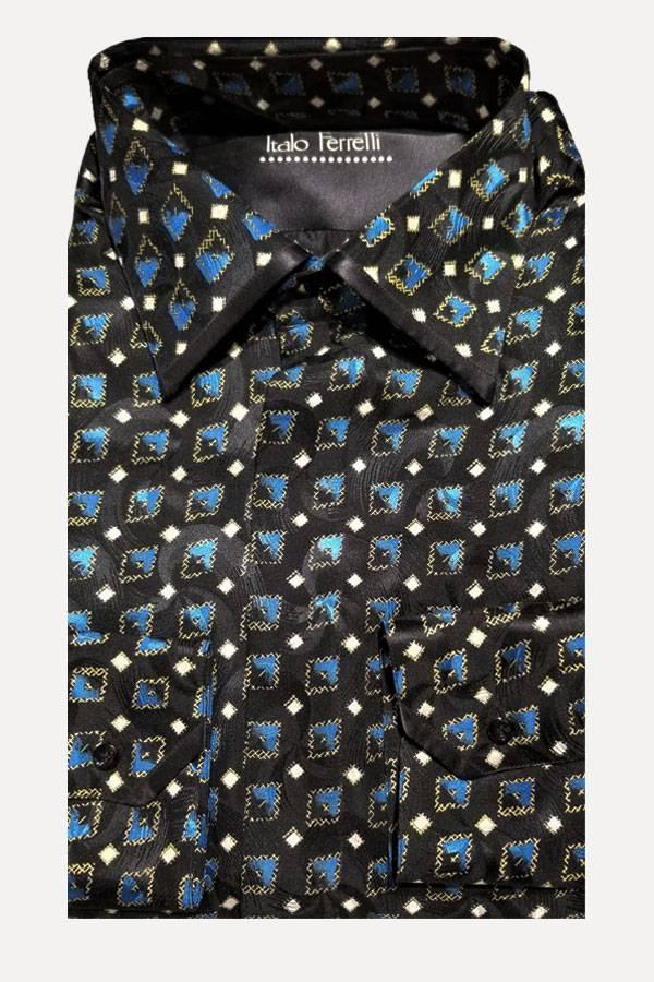 Italo Ferretti Silk Shirt in Diamond Jacquard with Gold Print