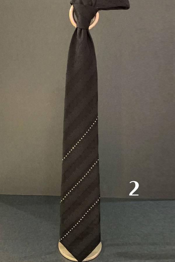 Pancaldi EVENING Tie with 3 Stripes of SWAROVSKI (Special Order)