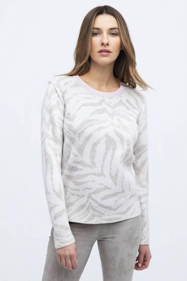 Kinross 100% Cashmere Reversible Tiger Print Sweater - Blk/Wht