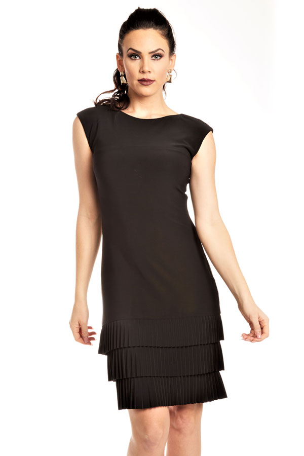 classic little black dress with pleated tiers