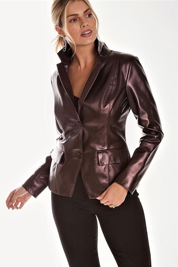 Pearlized Leather Blazer