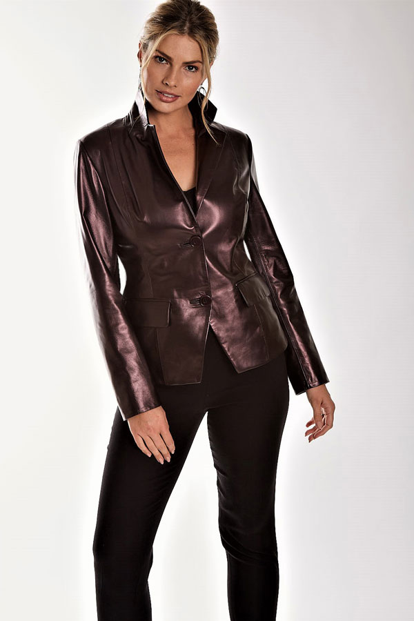 Pearlized Leather Blazer
