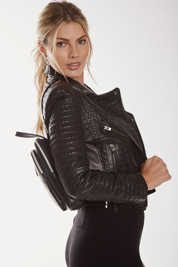 Mitra Leather Backpack Contrast Python