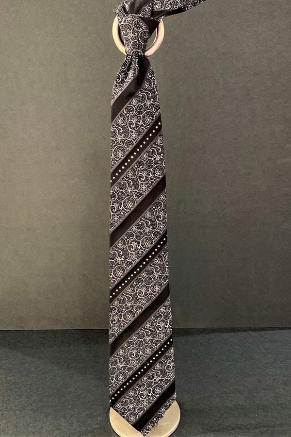 Pancaldi Pure Silk Tie Ceremony-3Rows of Swarovski Ornamentation