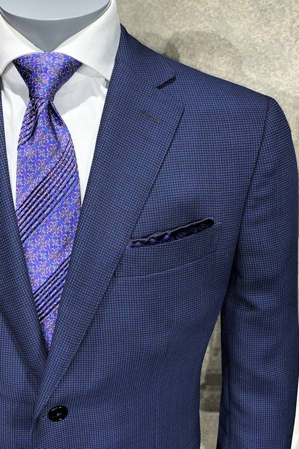 Ravazzolo-Suit in Italian Crepe Fabric-Birdseye Design