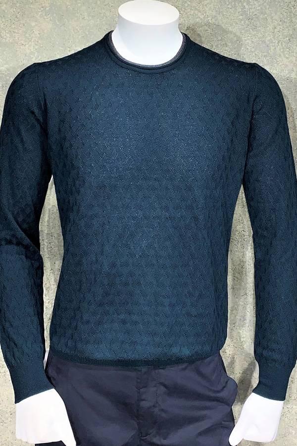 Ferrante Double Crew Neck Sweater in Diamond Jacquard Design