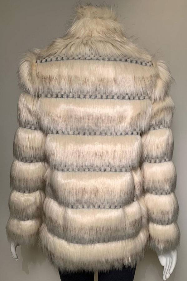 Faux Fur and Knit Coat