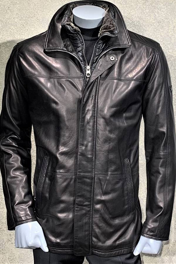 Leather 3/4 Zip Coat with Warmer