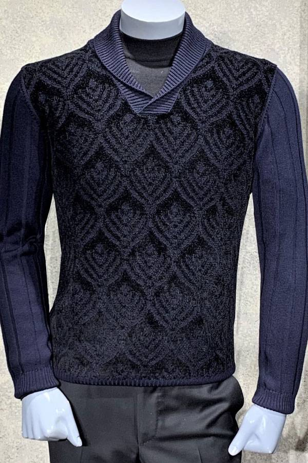 Chenille Shawl Neck Eye Sweater
