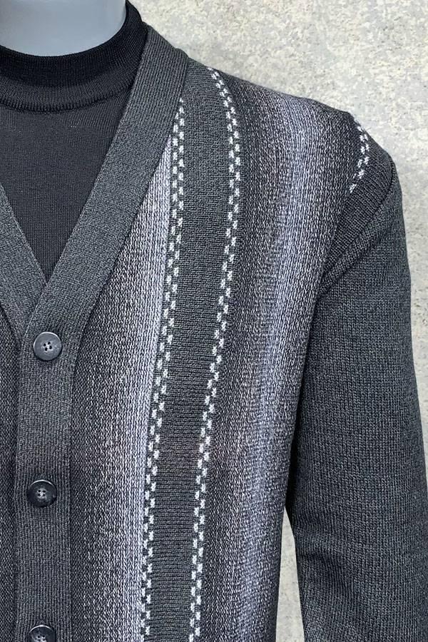 Cardigan 5 Button Shadow Stripe