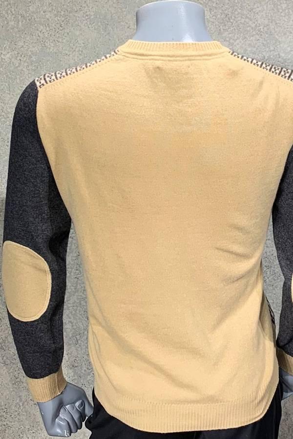 100% Cashmere Crew Check Stripe Sweater