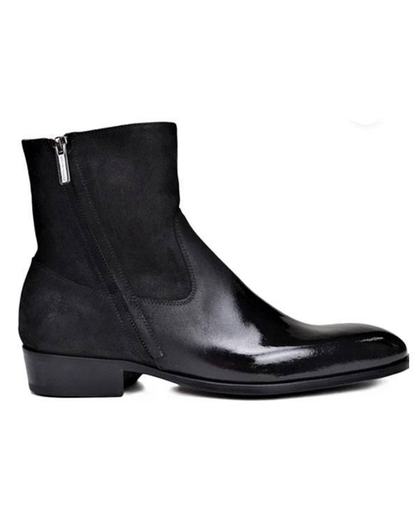 Bruno Magli Italian Boot in Black Patent Suede/Black Patent Leather