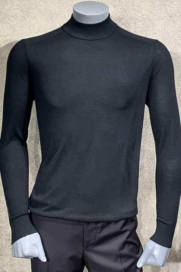 Fine Gauge Mock Neck Wool Sweater