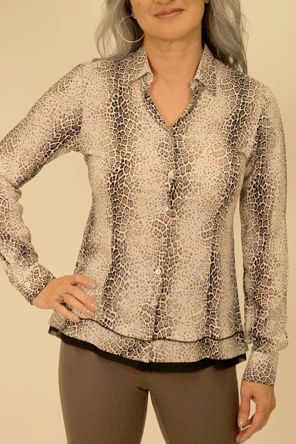 Italian Button Cheetah Blouse