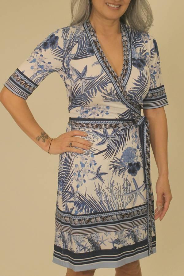 Shell Print Short Sleeve Wrap Dress