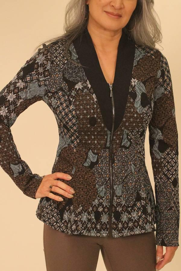 Tapestry Print Zip Shirt Jacket