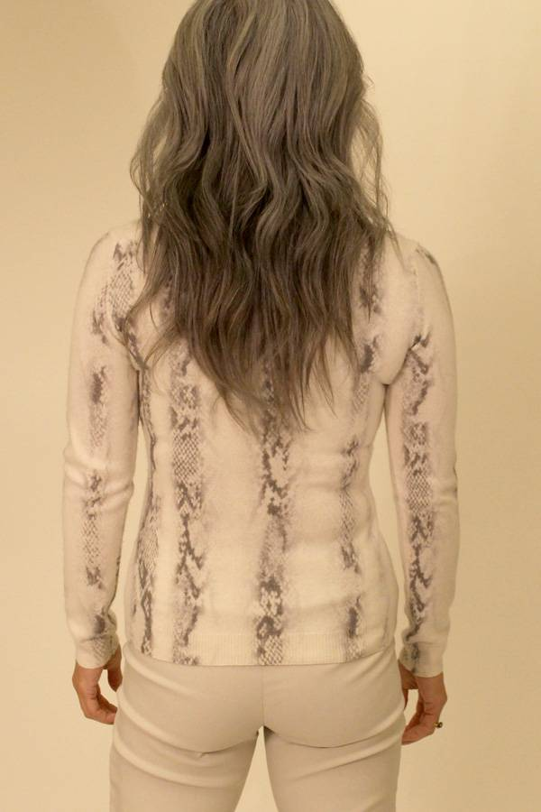 100% Cashmere Python Knit Top