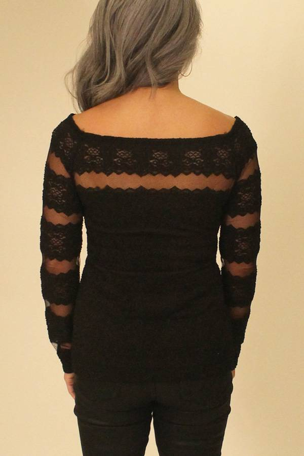 Lace Sheer Boat Neck Top