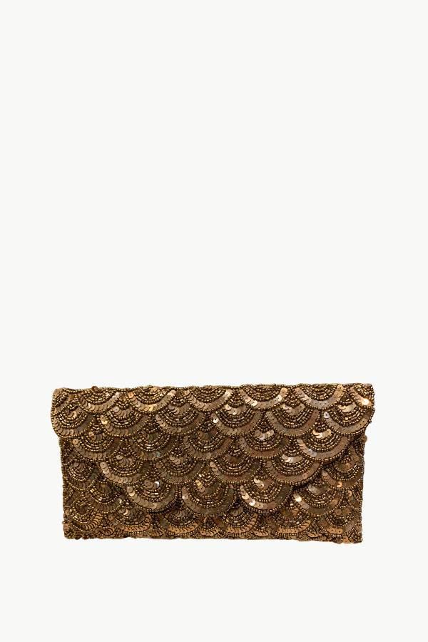Scallop Design Bronze Beaded Clutch