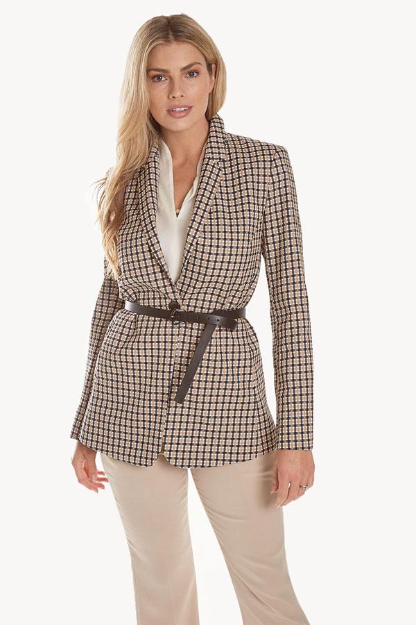 women's seersucker jacket cinched with belt at waist front