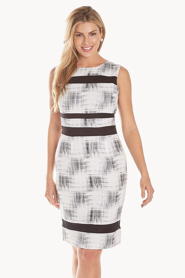 women's unique print white shift dress front
