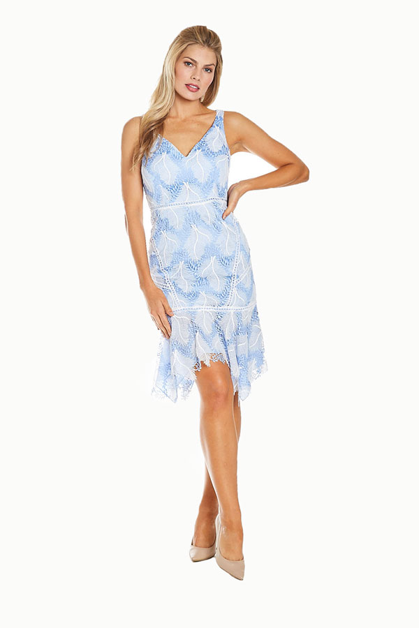 women's baby blue embroidered lacy sundress full model