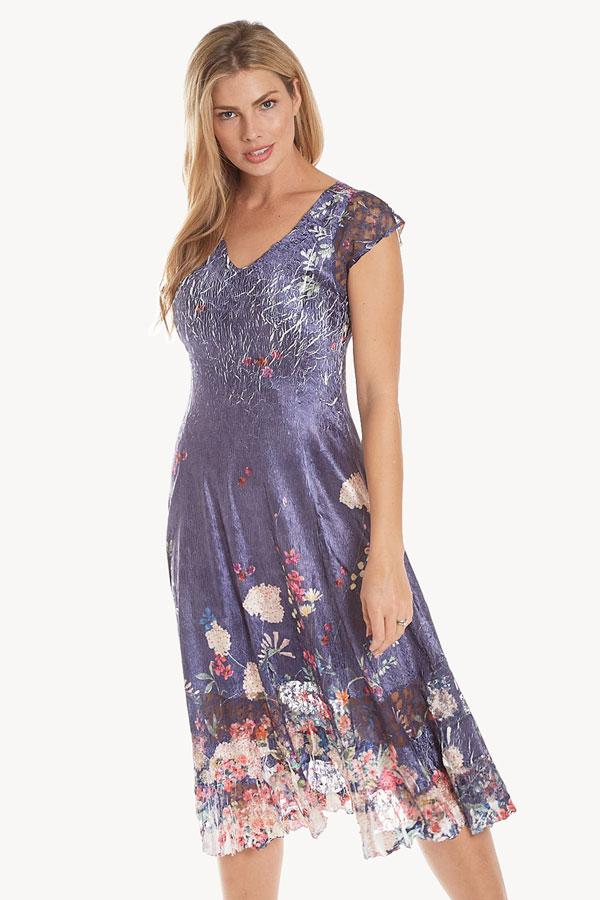 women's floral cap sleeve lace plisse dress front