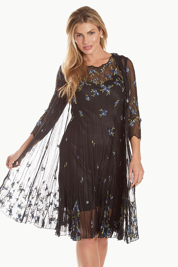 women's embroidered lace dress and duster jacket front