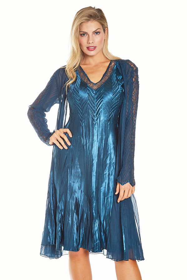 plisse two-piece shiny blue dress and duster front