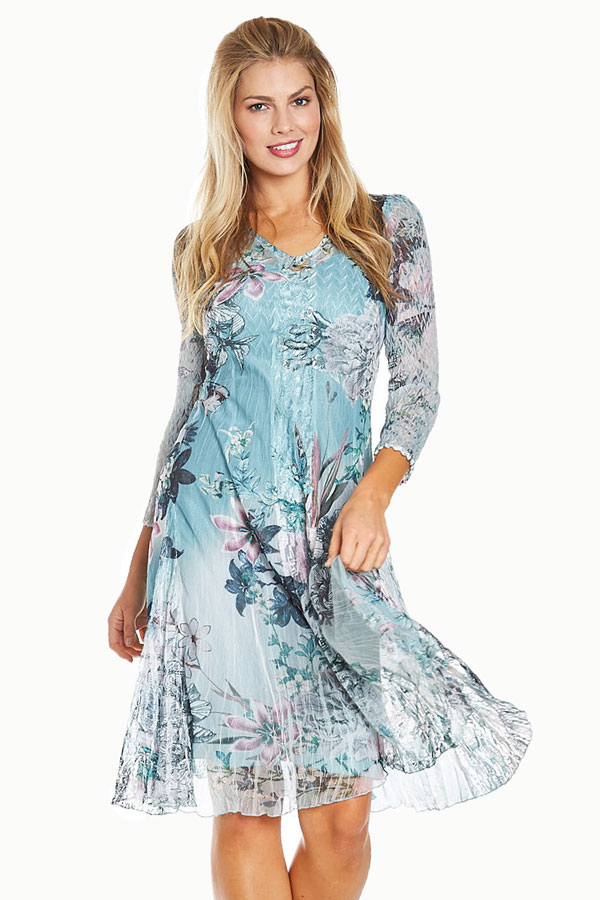 women's blue jade floral plisse dress front