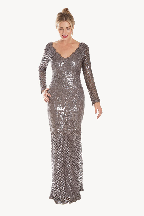 long sleeve gray sequined gown full model front