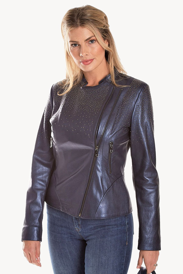 Pearlized Galaxy Moto Leather Jacket