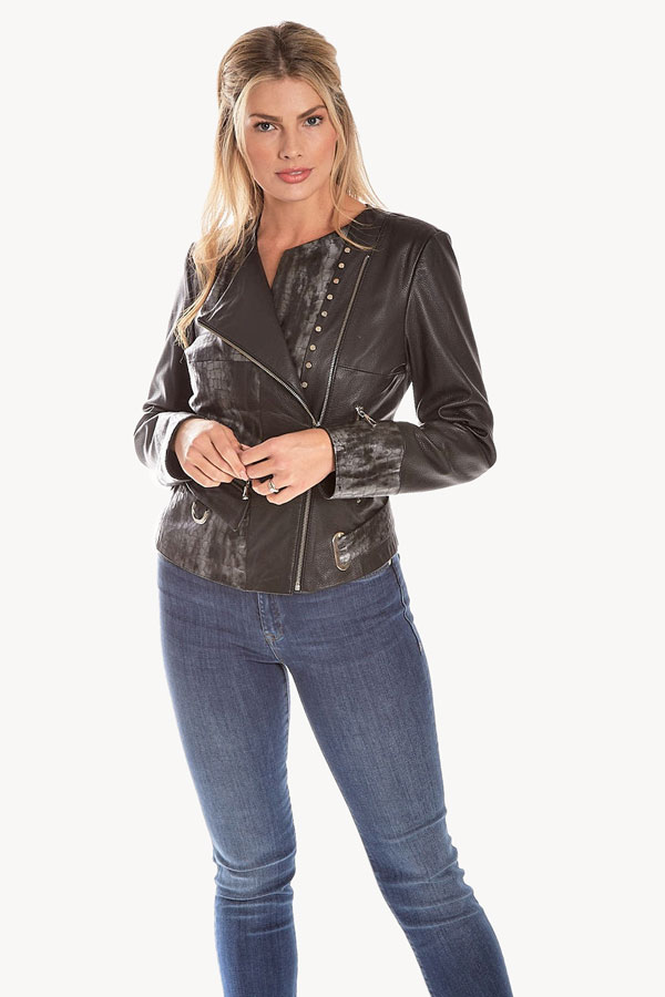 Italian Design Croc Print Leather Moto Jacket