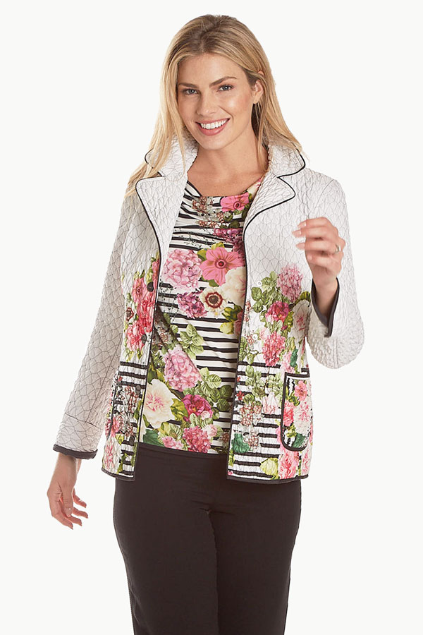 Italian Quilted Floral Striped Outerwear
