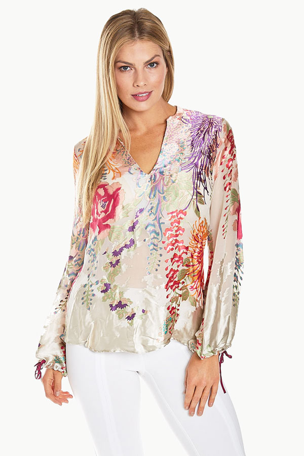 women's beaded neck viscose floral burnout blouse front