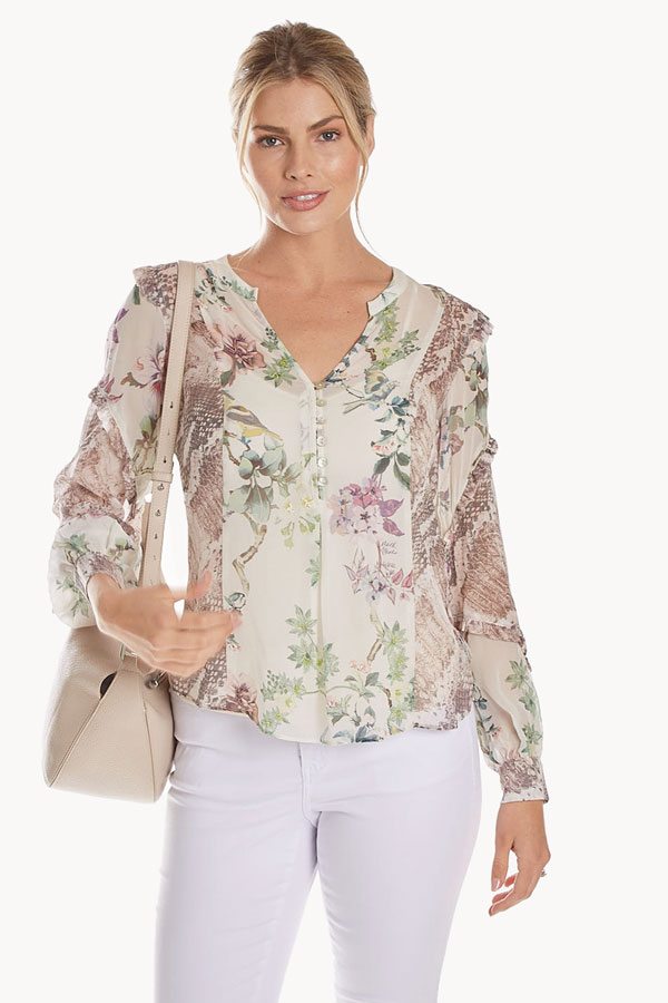 women's silk floral ruffle top front model with bag