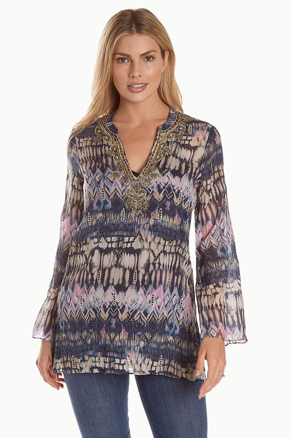 women's art viscosa tribal print tunic front
