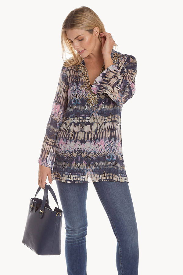 women's art viscosa tribal print tunic modeled with bag