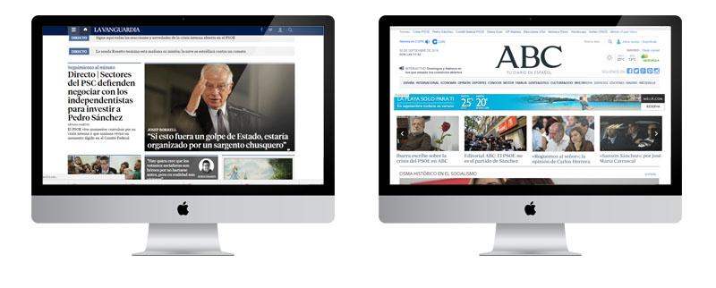 Diarios La Vanguardia y el ABC version ordenador usabilidad lectora