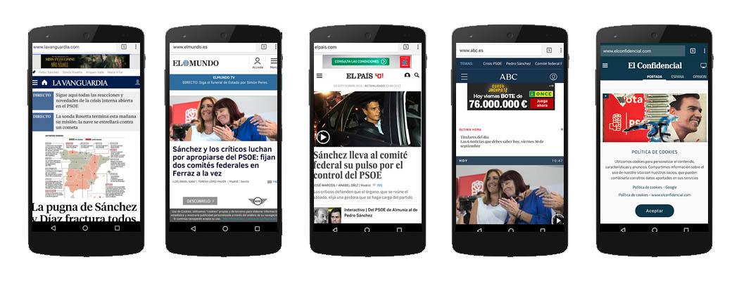 el responsive design de 5 diarios online generalistas