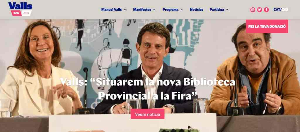 Pantallazo página web Manuel Valls