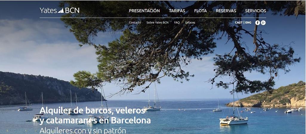 Pantallazo web de Yates Barcelona