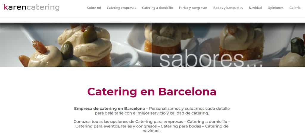 captura de pantalla de la web de Karen Catering
