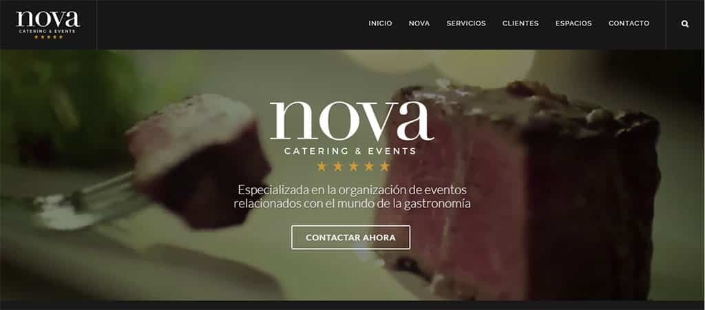 Captura de pantalla de la web de Nova Catering & Events