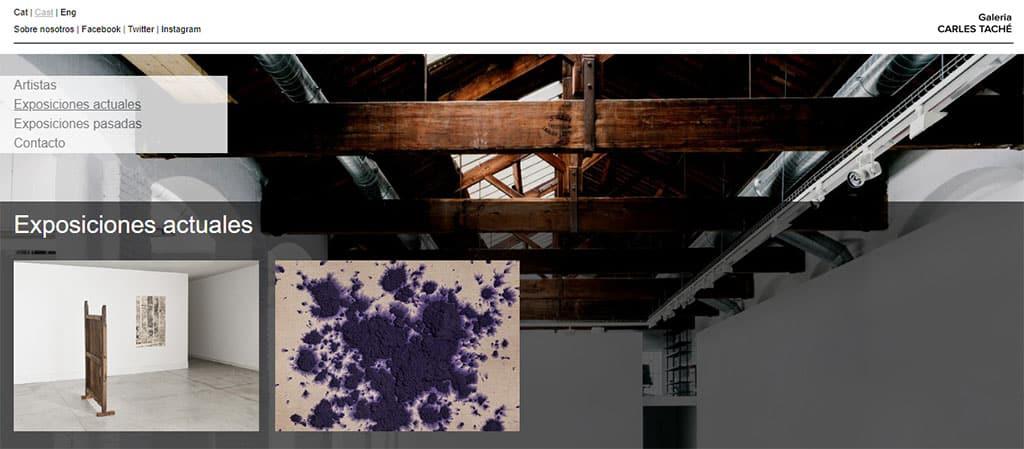 Captura de pantalla de la web de la galería Carles Taché