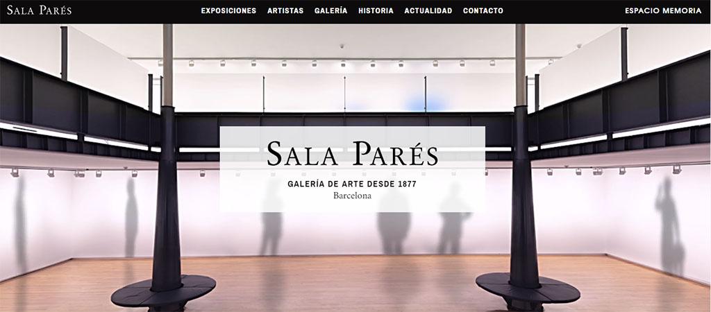Captura de pantalla de la web de la Sala Parés