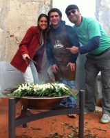 Calçots at a Barcelona barbecue catering event