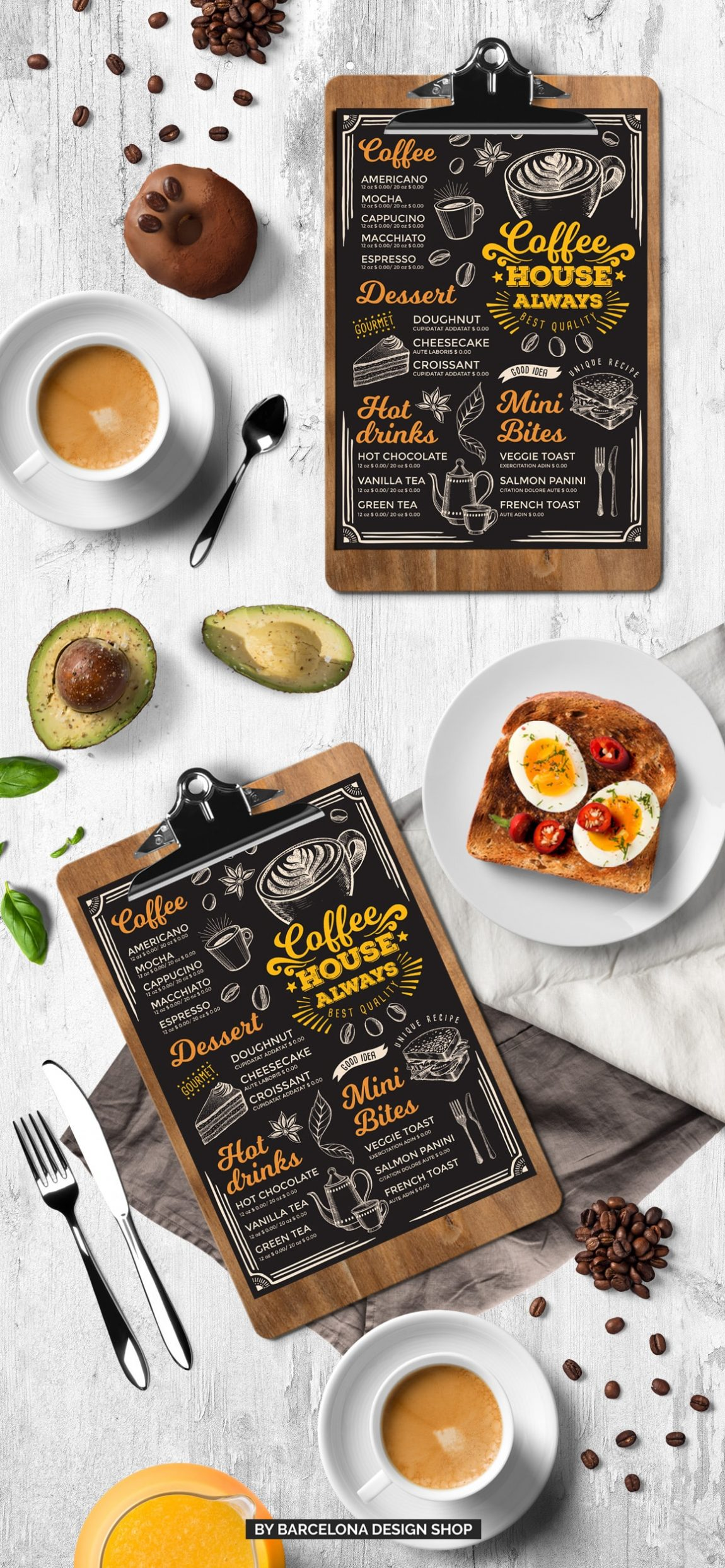 Coffee Menu Template Barcelona Design Shop