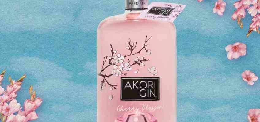 Beautiful pink bottle of Akori Cherry Blossom Gin