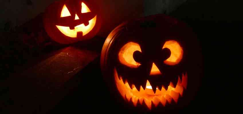 Two scary and funny halloween pumpkins